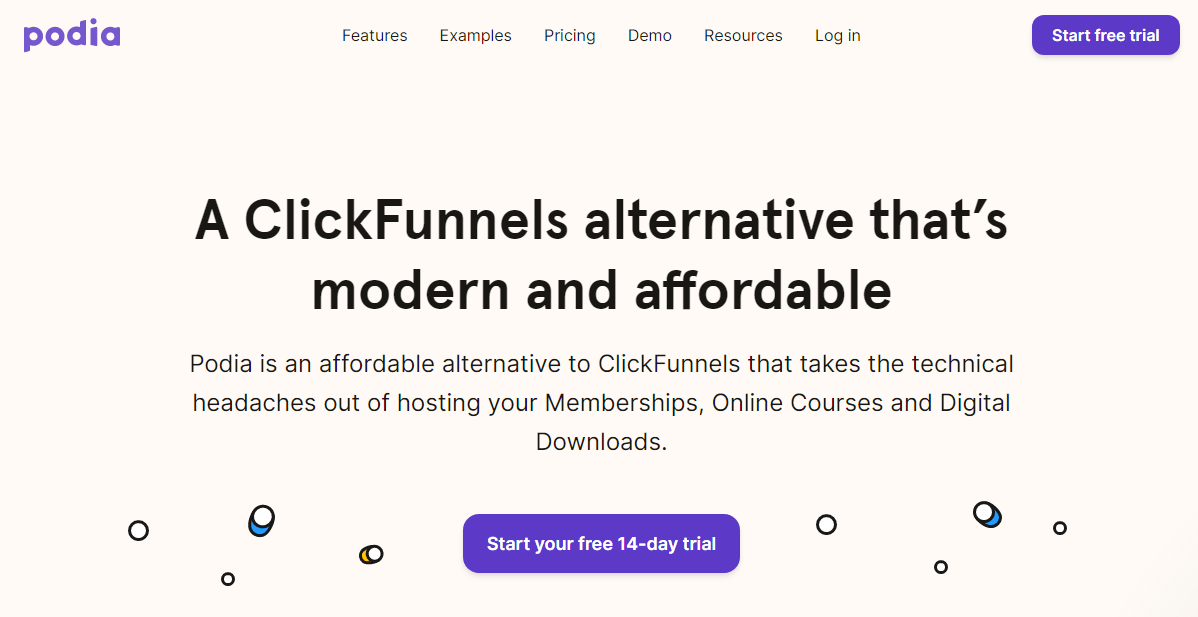 Podia homepage where it's comparing itself to ClickFunnels