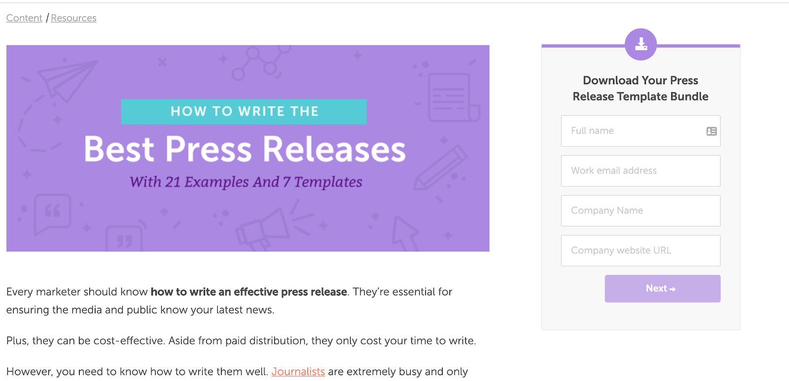 An example from CoSchedule on how to write a press release