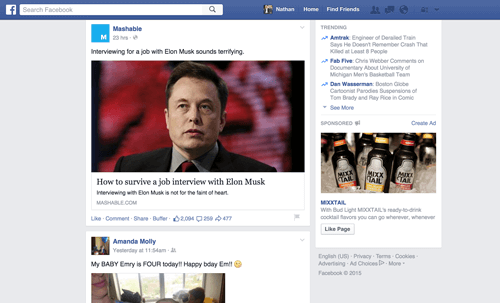 Facebook content curation example