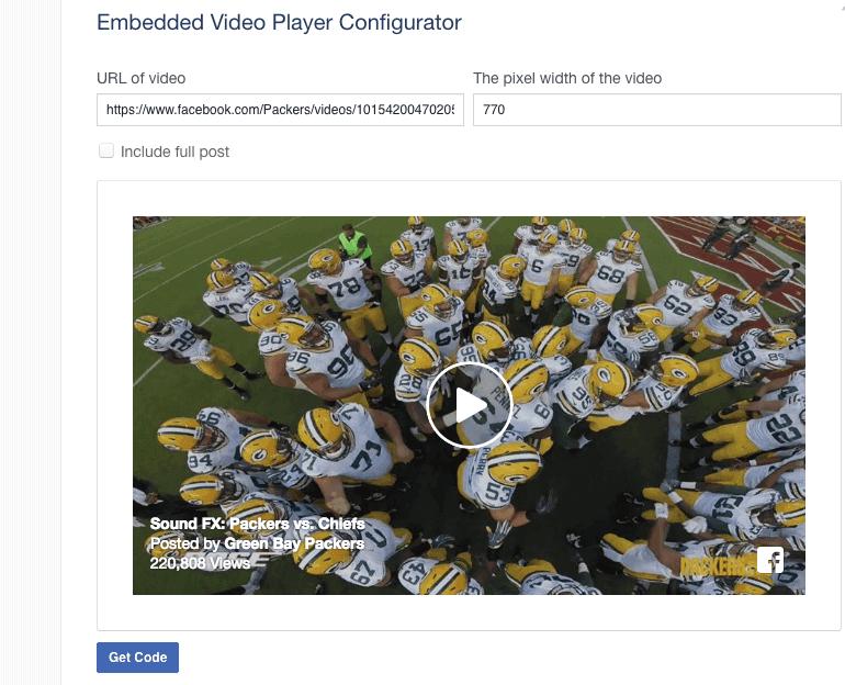 Facebook Embed Video: Get Code