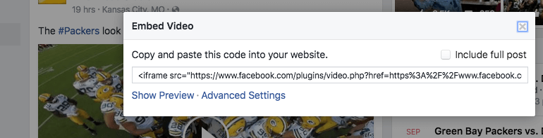 Facebook embed video, next step