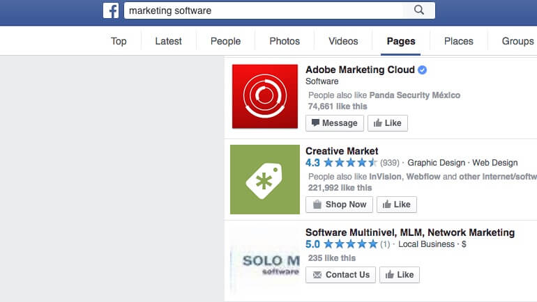 Search results in the Facebook search bar