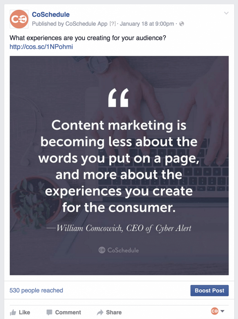 Example of a quote post on Facebook