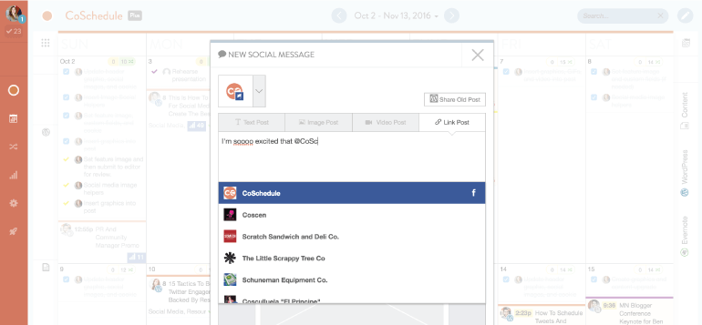 Example of Facebook profile tagging in CoSchedule