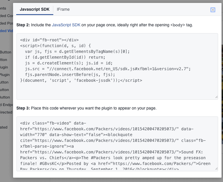 Example of a Facebook video embed code