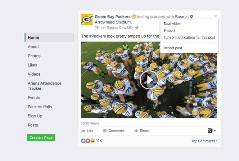 Click to embed Facebook video