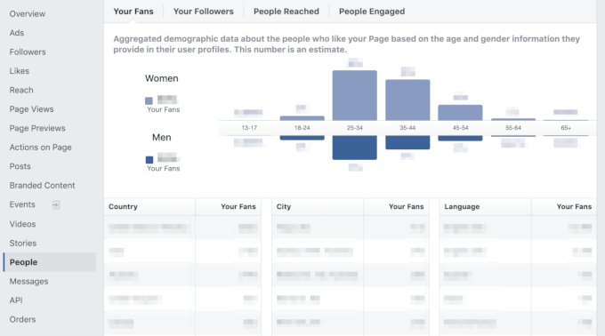 Demographic data in Facebook Insights