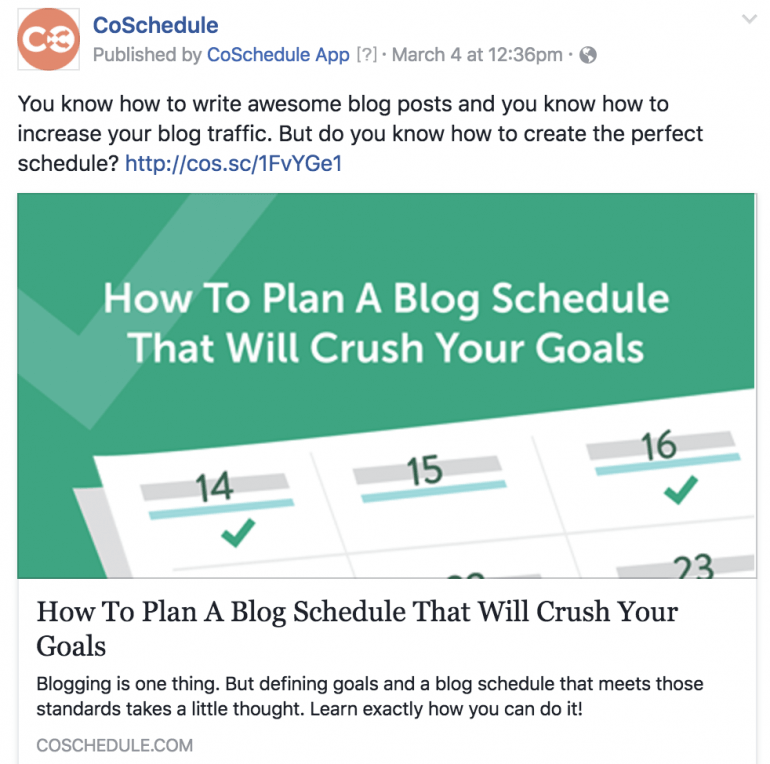Example of a CoS Facebook post