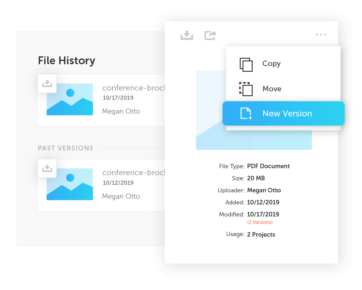Pop up menu with options for updating file history