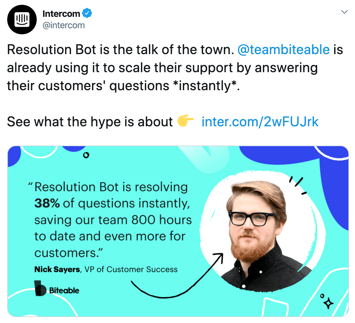 Intercom post on Twitter about Resolution Bot's positive impact