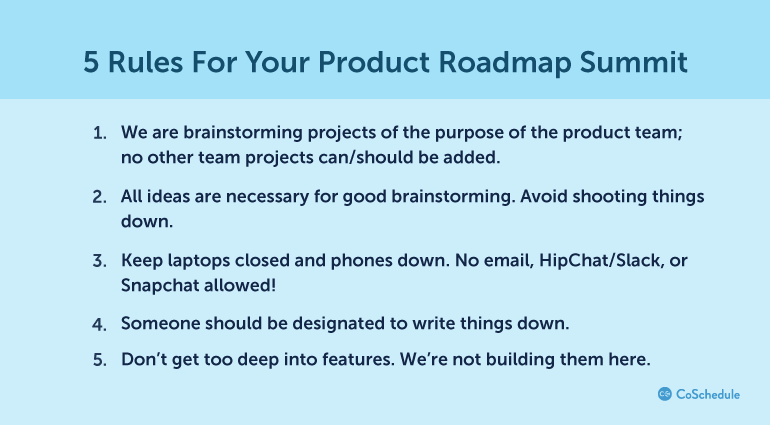 5 Rules For Your Product Roadmap Summit