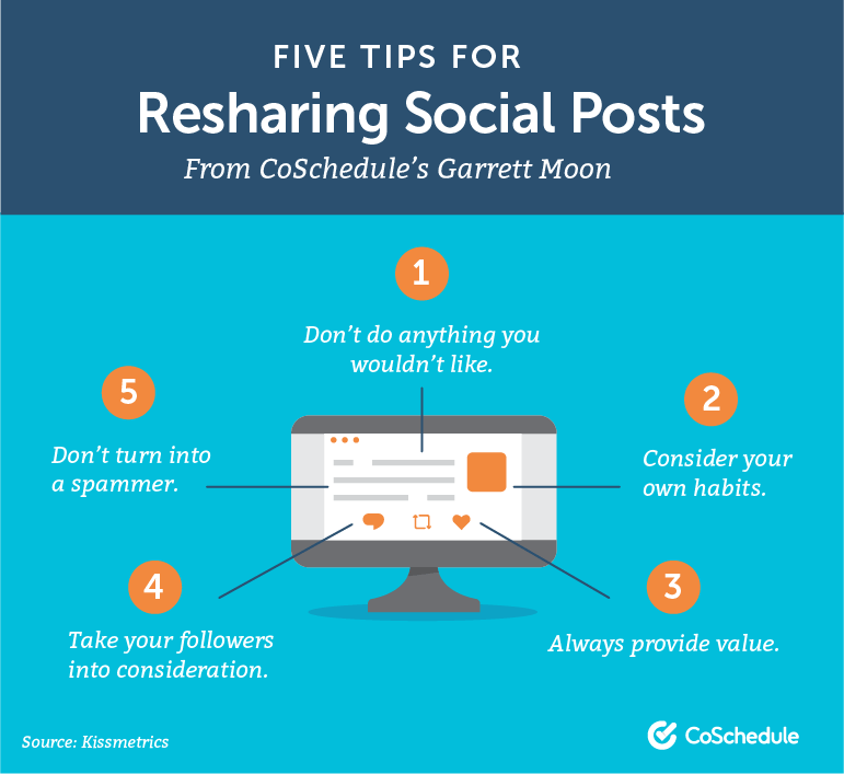 Five Tips For Resharing Social Posts From CoSchedule's Garrett Moon