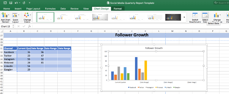 Select data in follower growth section