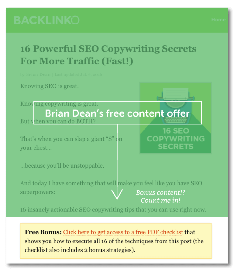 Example of a free content offer from Backlinko.