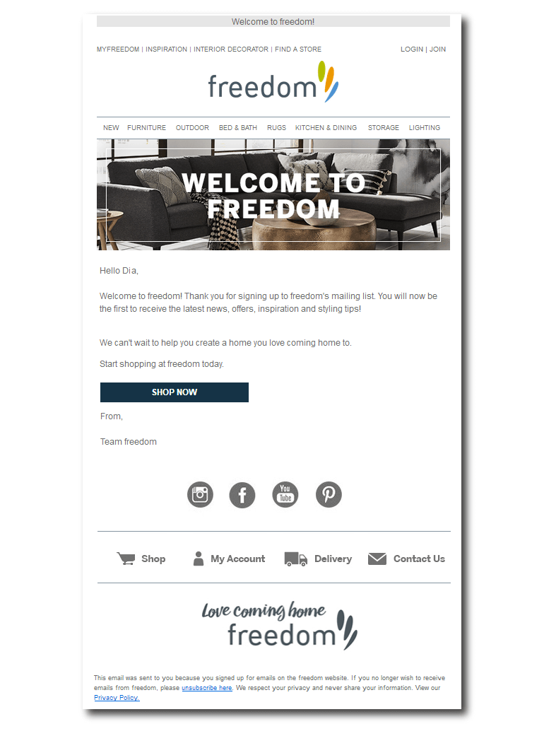 Example of a welcome email from Freedom