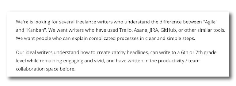 Example of a freelance writer job ad from Problogger.