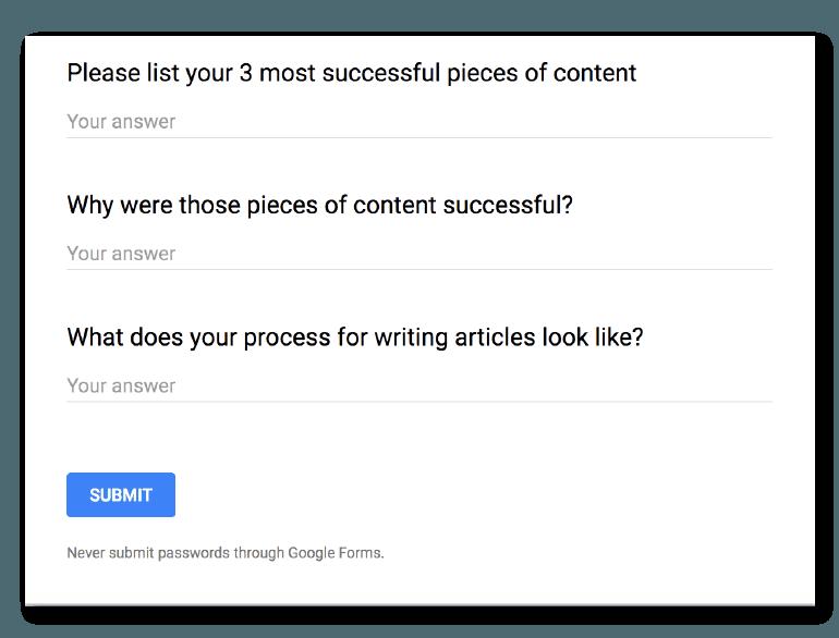 Example survey for hiring freelance writers.