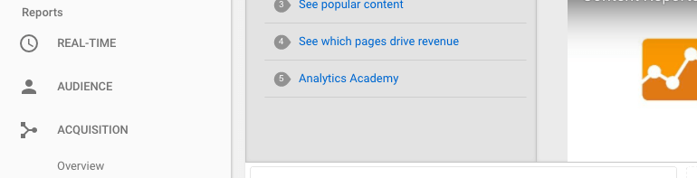 Where to find Acquisition in Google Analytics