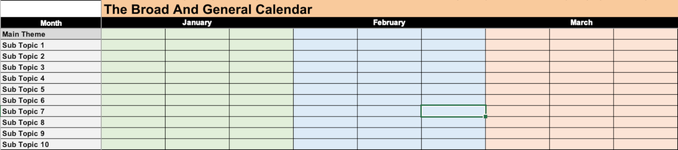 Example of the general content calendar template