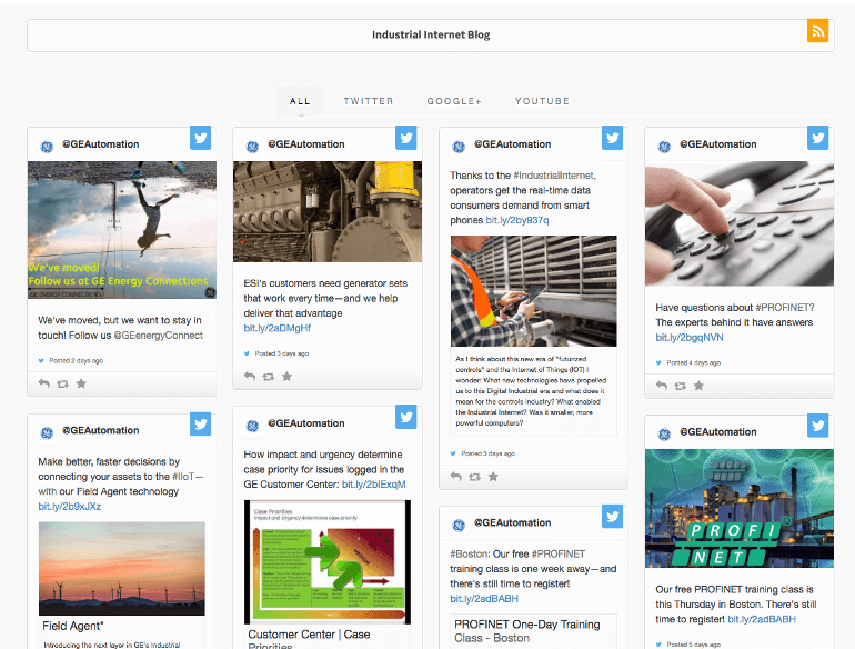 General Electric Social Media Hub Page