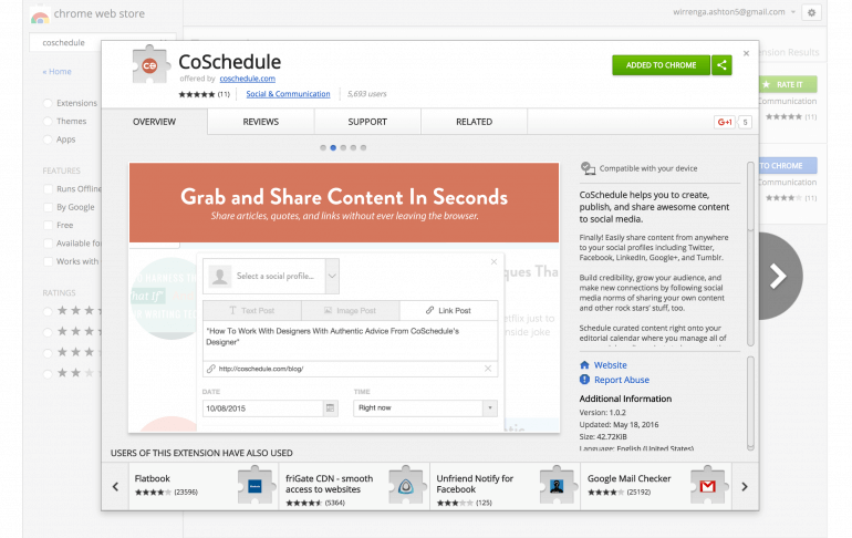 CoSchedule Chrome extension