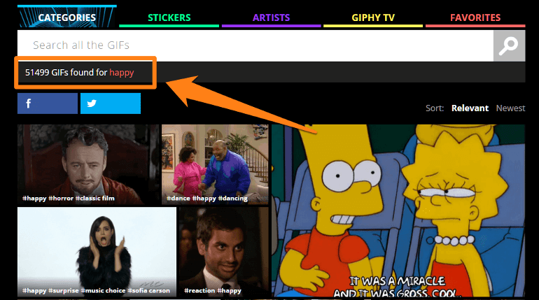 Example of GIF search on Giphy