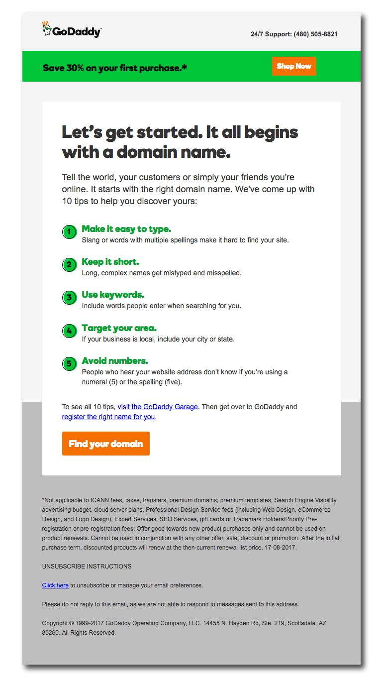 Example of a welcome email from Go Daddy