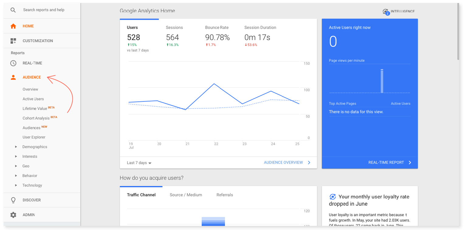 Where to find Audience Reports in Google Analytics