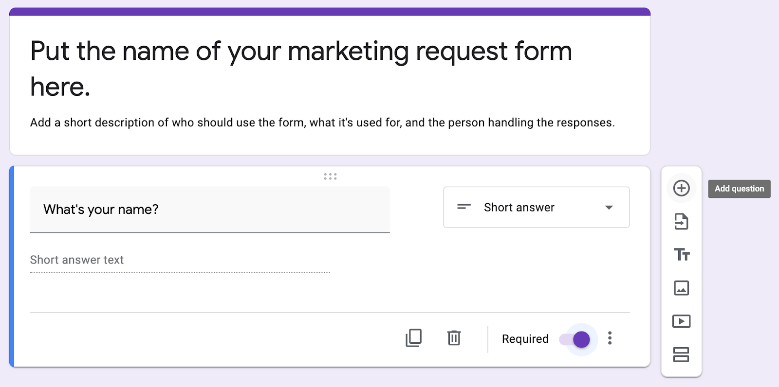 Adding a question to a Google Form