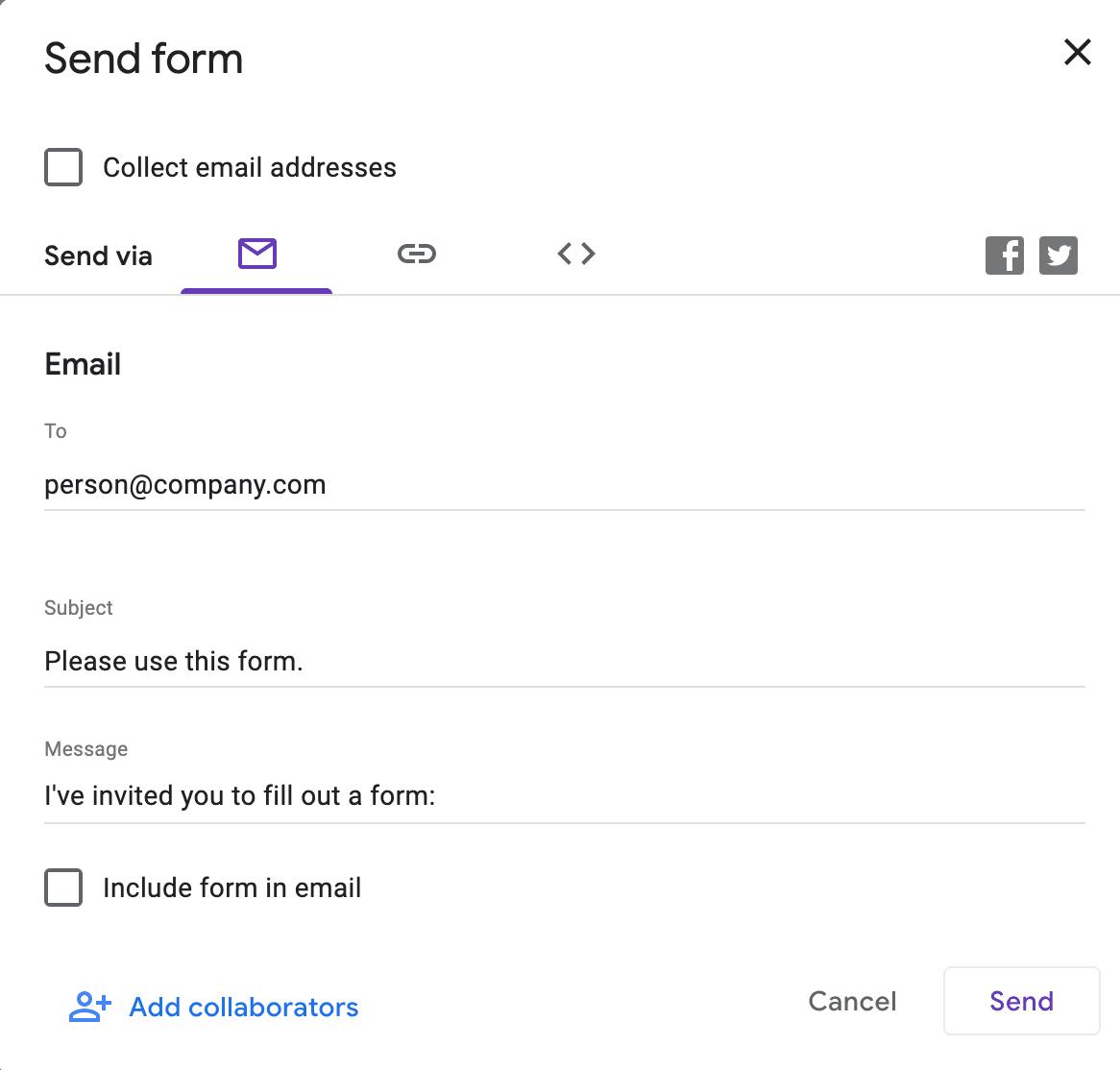 Sending a Google Form