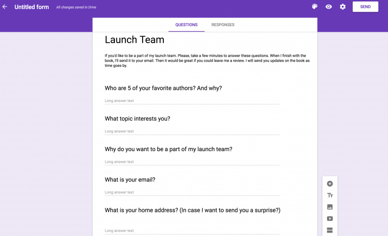 Example of a survey in Google Forms