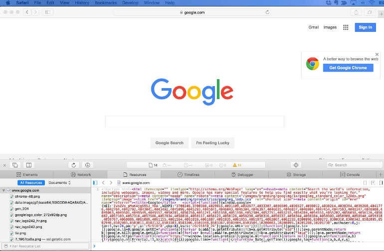 Google home page with source code in Safari