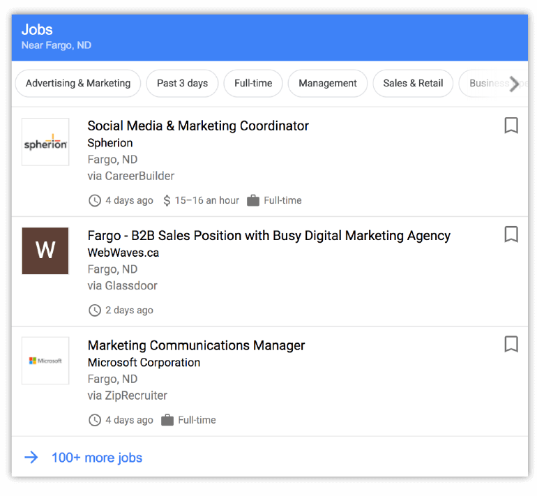 Example of a job listing search result from Google