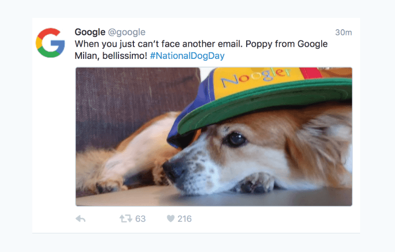 Example of a fun but professional post from Google