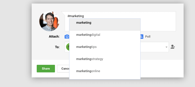 Google Plus displays relevant hashtags in posts