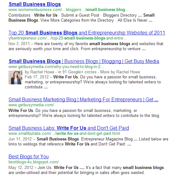 Google search engine results (SERP) for small business blogs