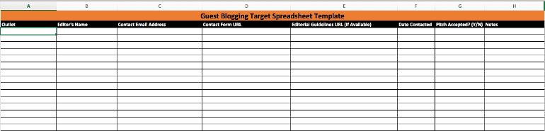 Guest Blogging Target Template Screenshot