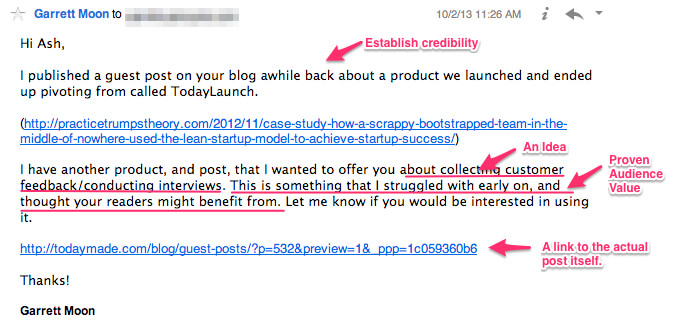 guest blogging cold pitch email