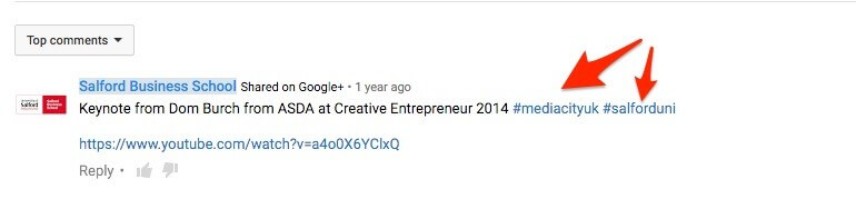 Example of hashtags in a YouTube comment