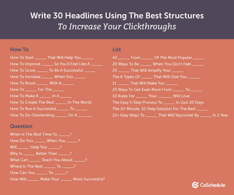 Write 30 Headlines Using the Best Structures to Increase Your Clickthroughs