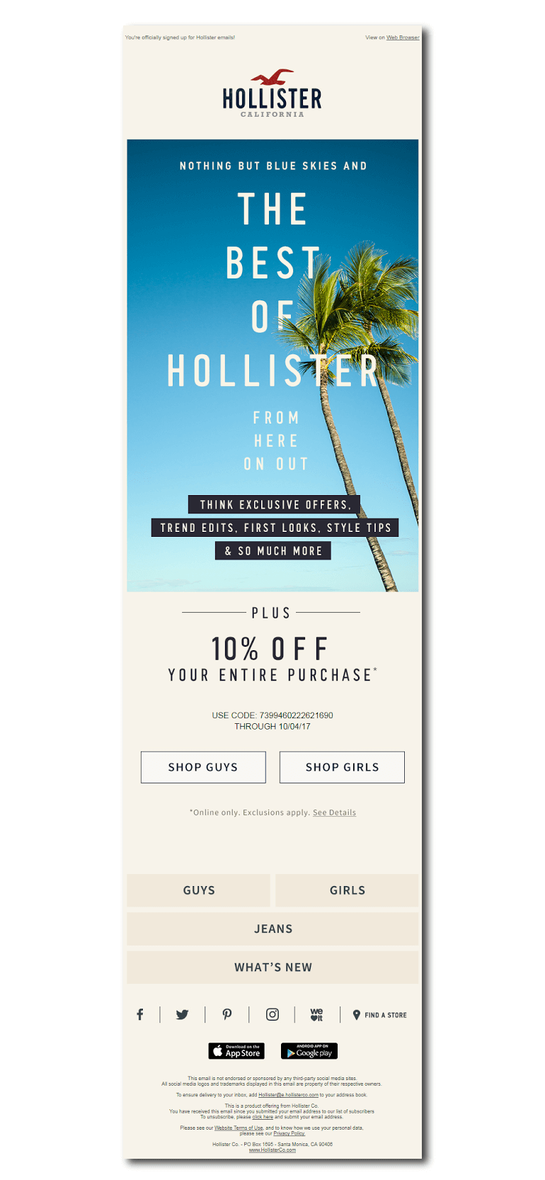 Example of a welcome email from Hollister