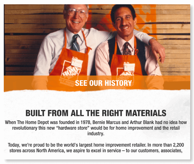 Example of an about us page from Home Depot