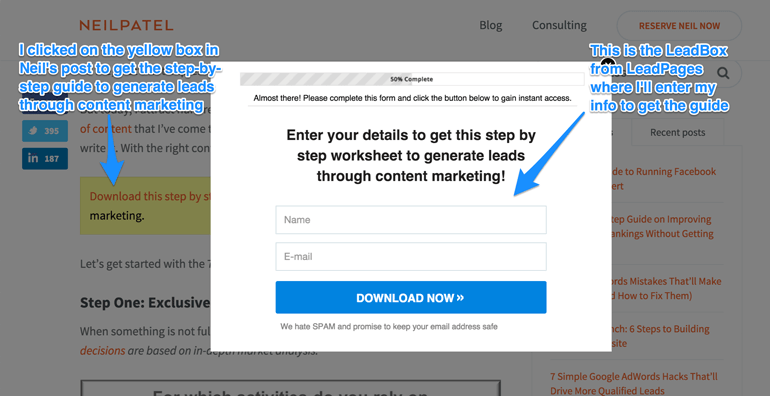 how to build an email list like Neil Patel