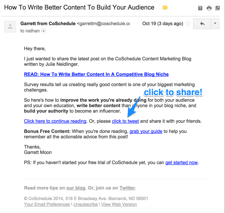 how to promote your blog with email share