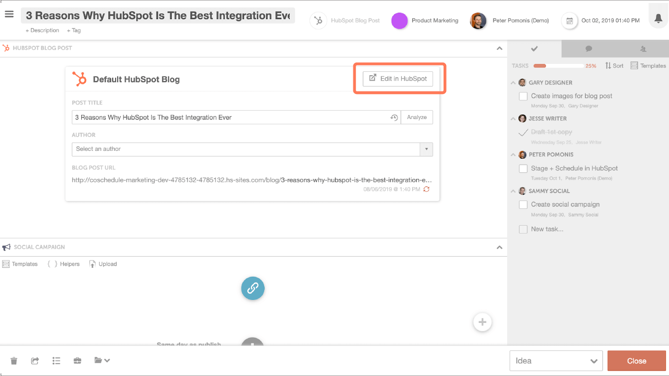 Example of the Hubspot and CoSchedule integration in action