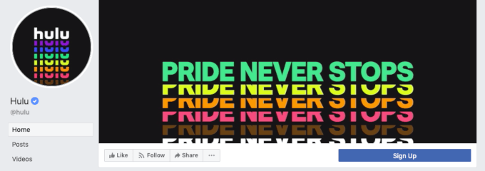 Facebook cover photo example from Hulu