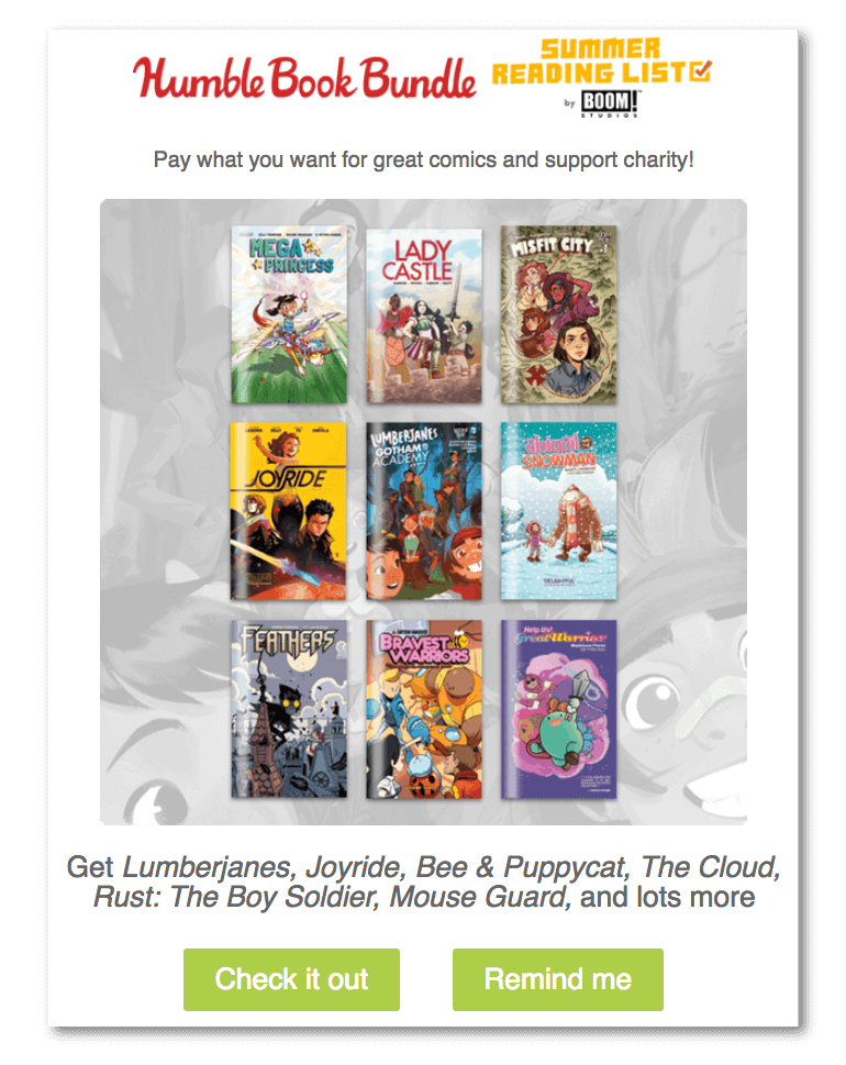 Sample marketing example from Humble Bundle