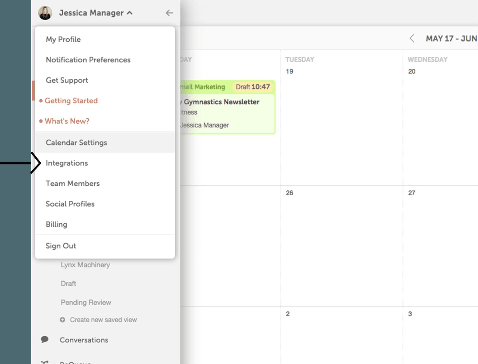 Integrations in calendar settings
