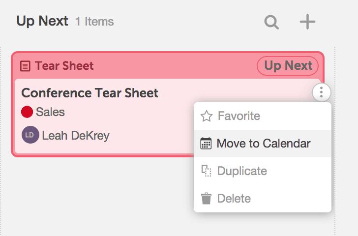 Move to calendar