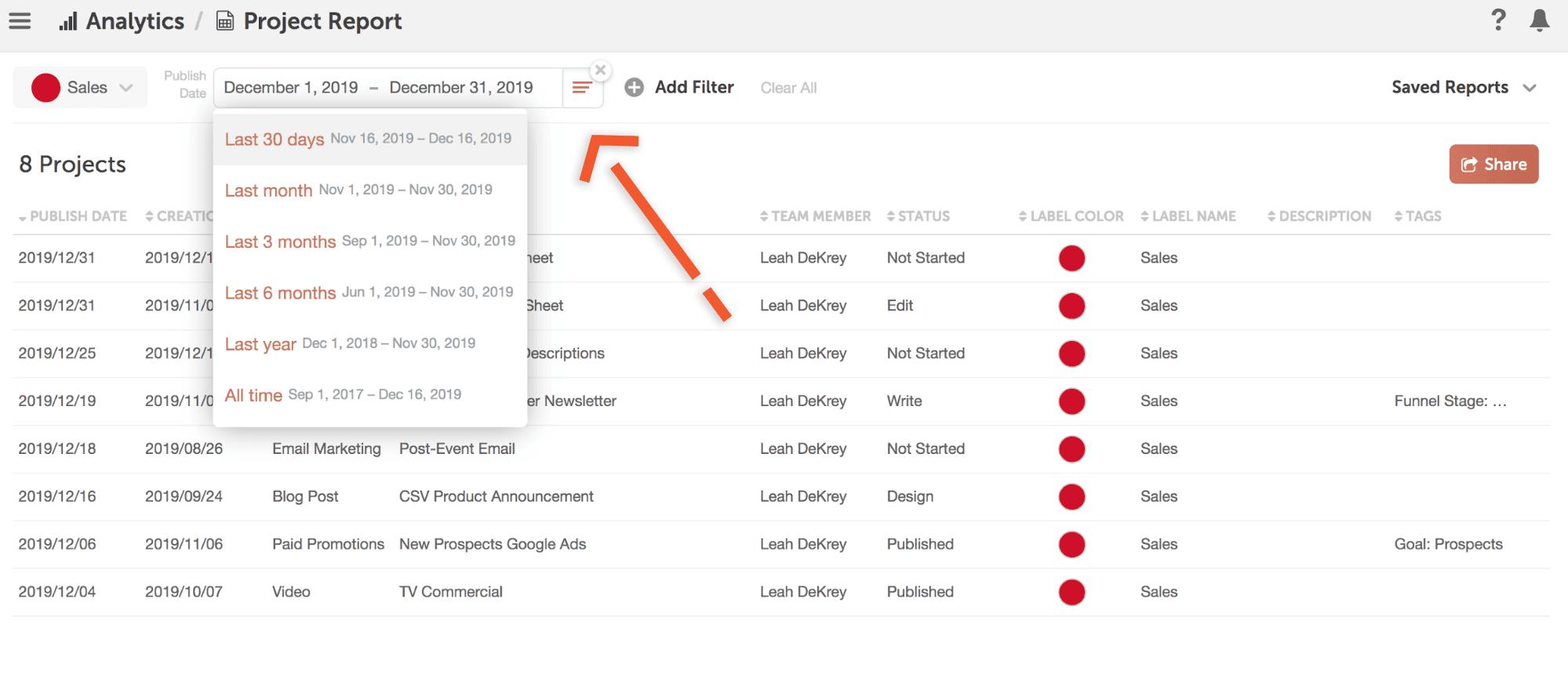 Select publish date